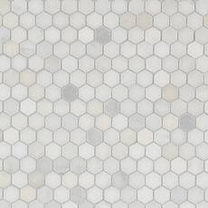 backsplash  Carrara White Hexagon Marble Mosaic  Accent the look of your home with this 12in. x 12in. honed Carrara White Hexagon Marble Mosaic. The ivory color gives a nice touch to any room. This hexagon-shaped marble creates an eye-catching design with stunning colors that come from the wonders of the earth, marble decoratives make a gorgeous fashion statement throughout your home.