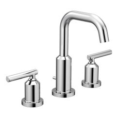 bath faucets   Moen   Gibson Chrome Two-Handle High Arc Bathroom Faucet   The Gibson collection gives contemporary industrial design a softer point of view. The tubular spout and handles mirror the look of exposed piping while polished edgest create a chic and modern style.
