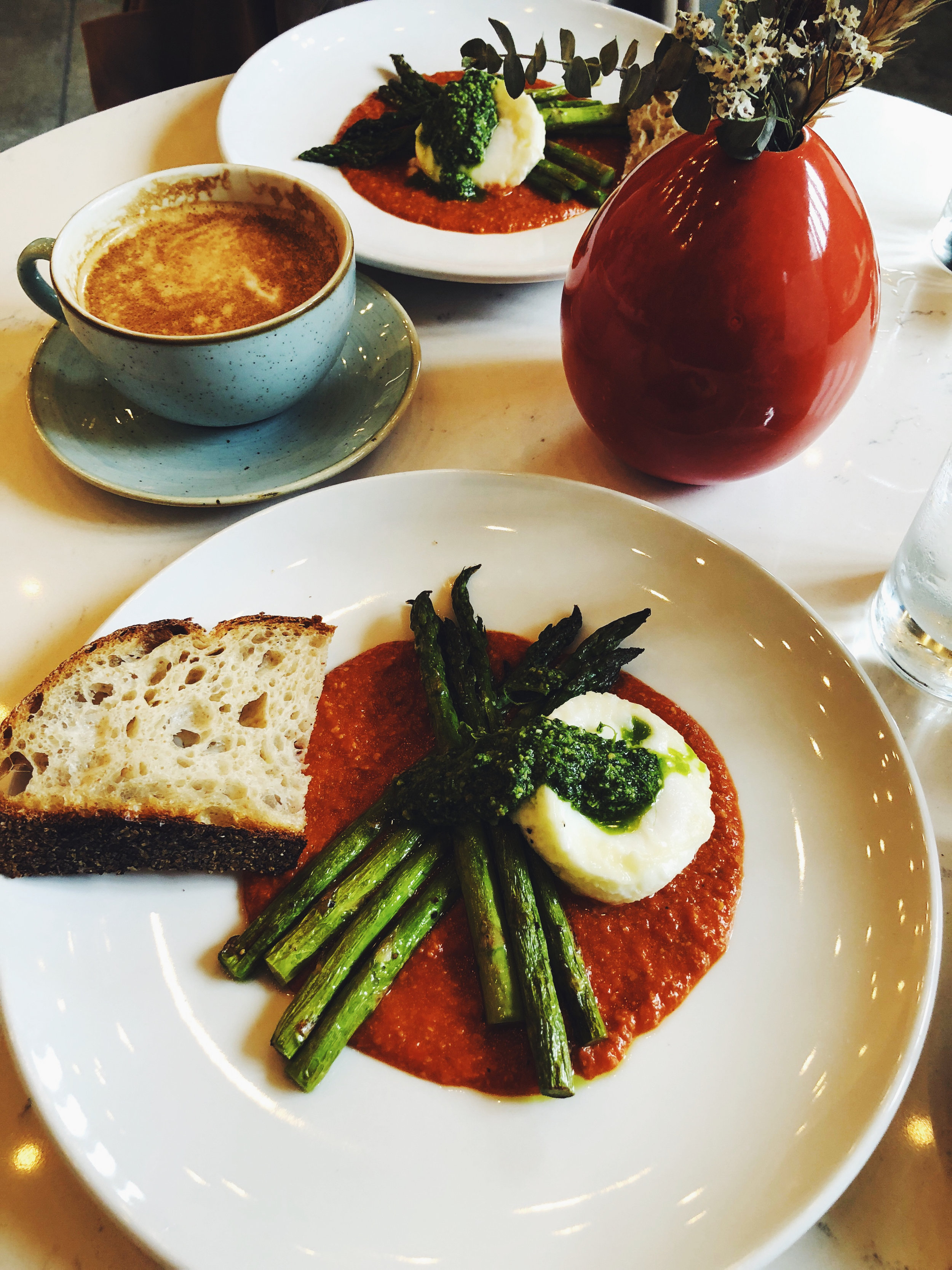 ROASTED ASPARAGUS | ALMOND PESTO | ROMESCO | POACHED EGG - CLOVER AND THE BEE