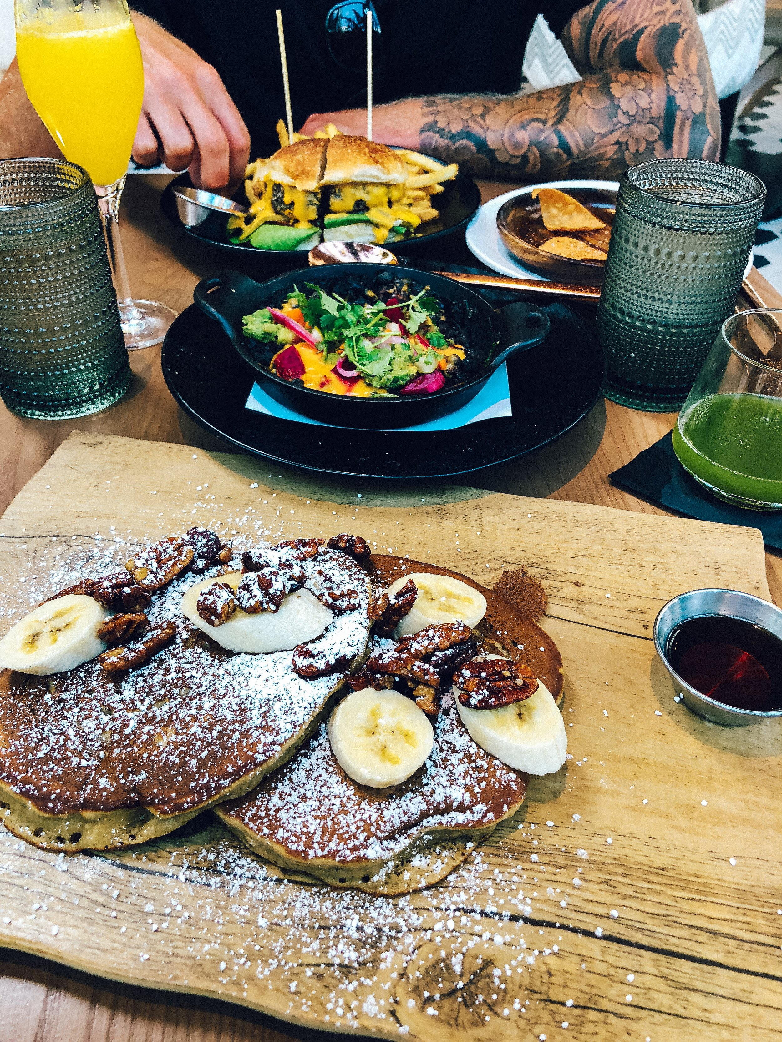 vegan banana pancakes from Planta