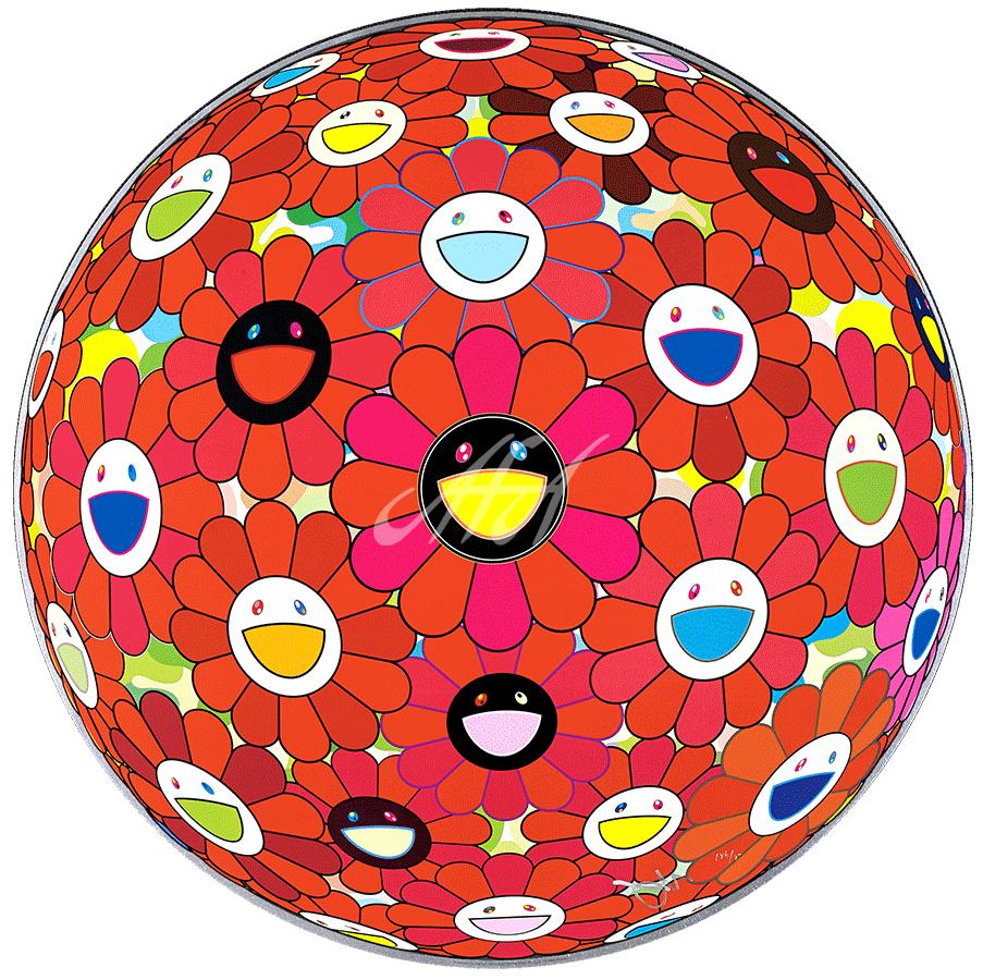 Takashi Murakami - Flower Ball (3d) Red Ball watermark.png