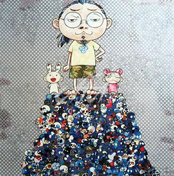 Takashi Murakami - Kaikai, Kiki, and Me, on the blue mound of the dead watermark.jpg