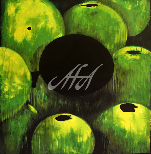Donald Sultan - Green Apples and Egg watermark.jpg