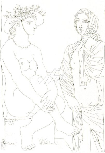 Picasso_Vollard_Woman sitting with hat and woman standing draped watermark.jpg