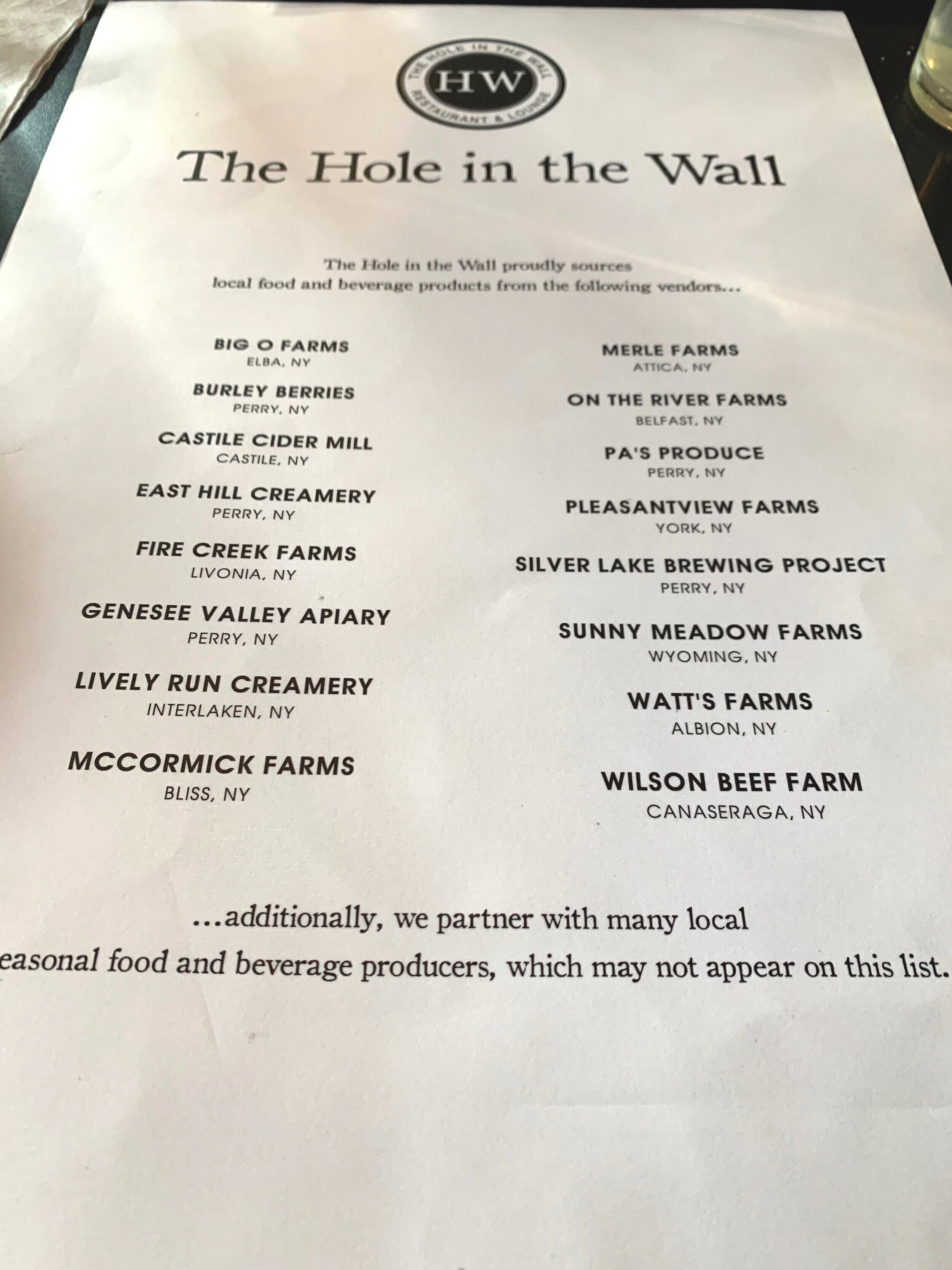 The Hole in the Wall Restaurant in Perry lists many local suppliers on their menu.