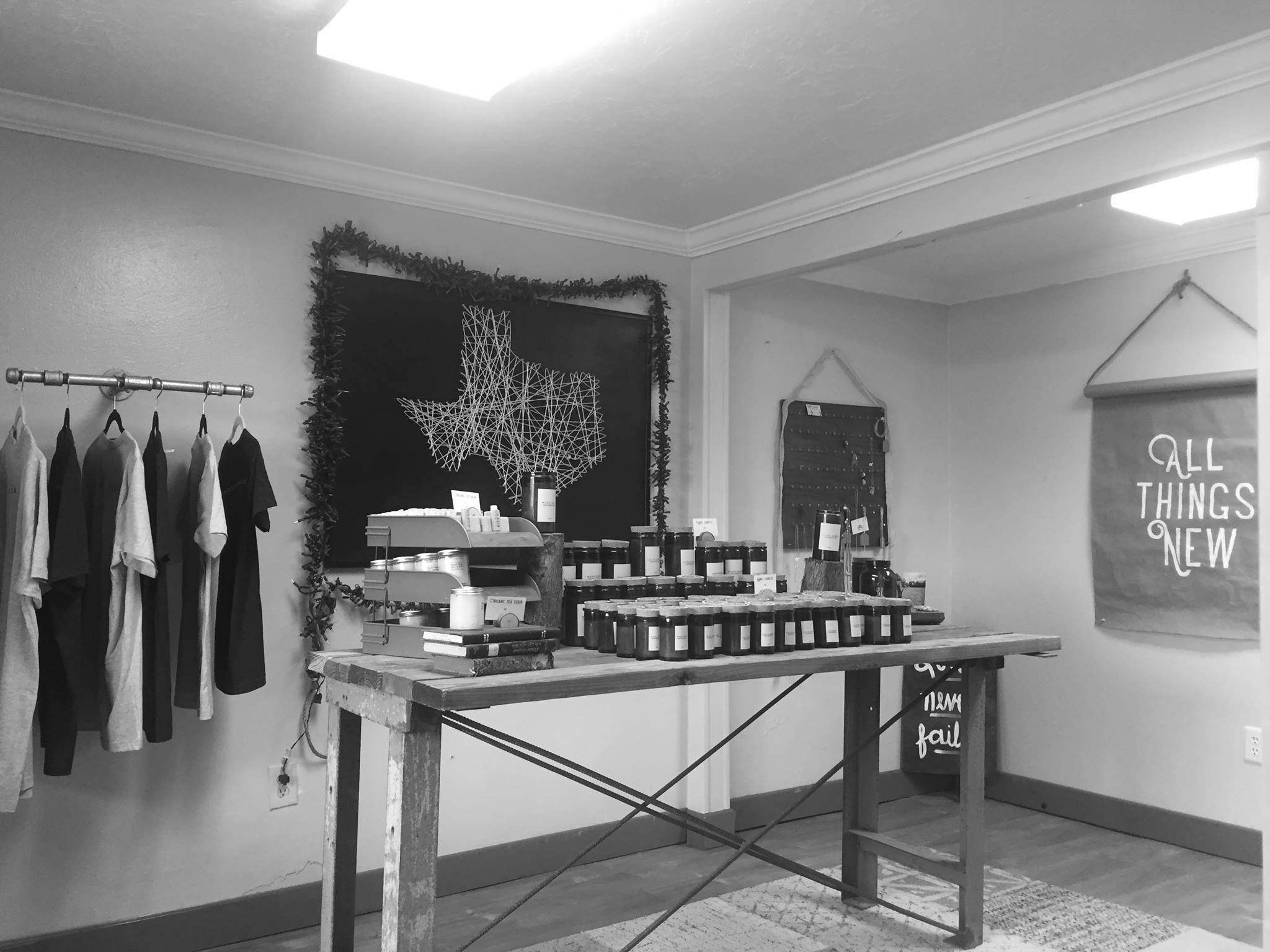 """Our first storefront space in 2017. We started our social enterprise selling products out of a tiny office space at our previous building (used to be a former brothel called """"Angela's Day Spa."""" Today, we are located in the Heights area in Houston, TX at 1135 E. 11th St., Houston, TX 77009."""