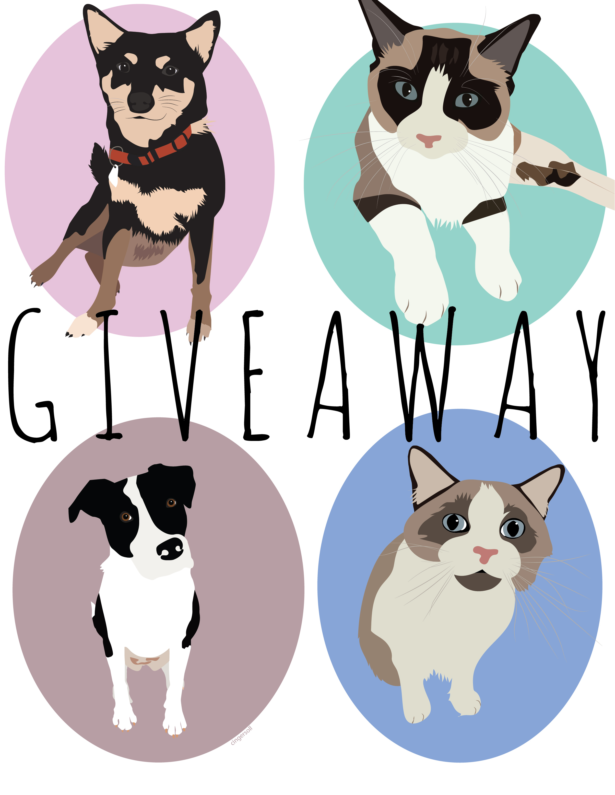 My website officially turns ONE on Friday and I'm celebrating by having my first GIVEAWAY! One  lucky person will win a personalized 8x10 pet portrait! TO ENTER: You must follow my IG account (@carleebird) + TAG A FRIEND in the comment section of the post! One entry per person! The giveaway will close on Saturday, June 2nd @ 10PM EST. The winner will be chosen at random and contacted through DM's on Sunday, June 3rd! -