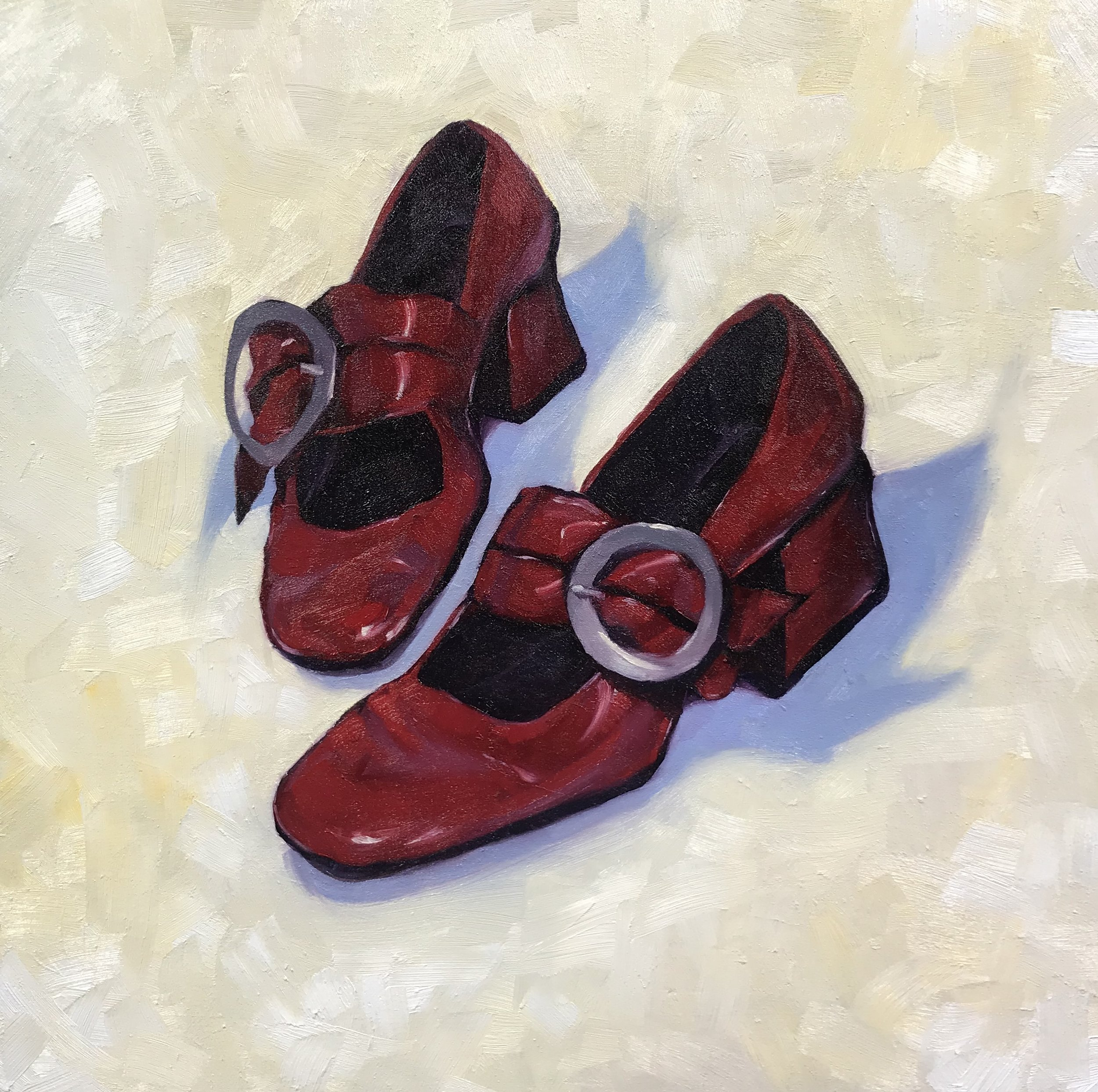I might still wear these again… (Dolce Gabanna)  2019 - Oil on Panel - by Frances Melhop