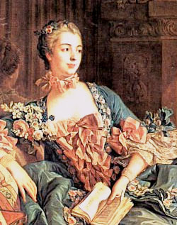 4. Detail from Boucher's painting of Mme de Pompadour—inspiration for Antonia's jumps fastened with pink ribbons.    Art Renewal Centre