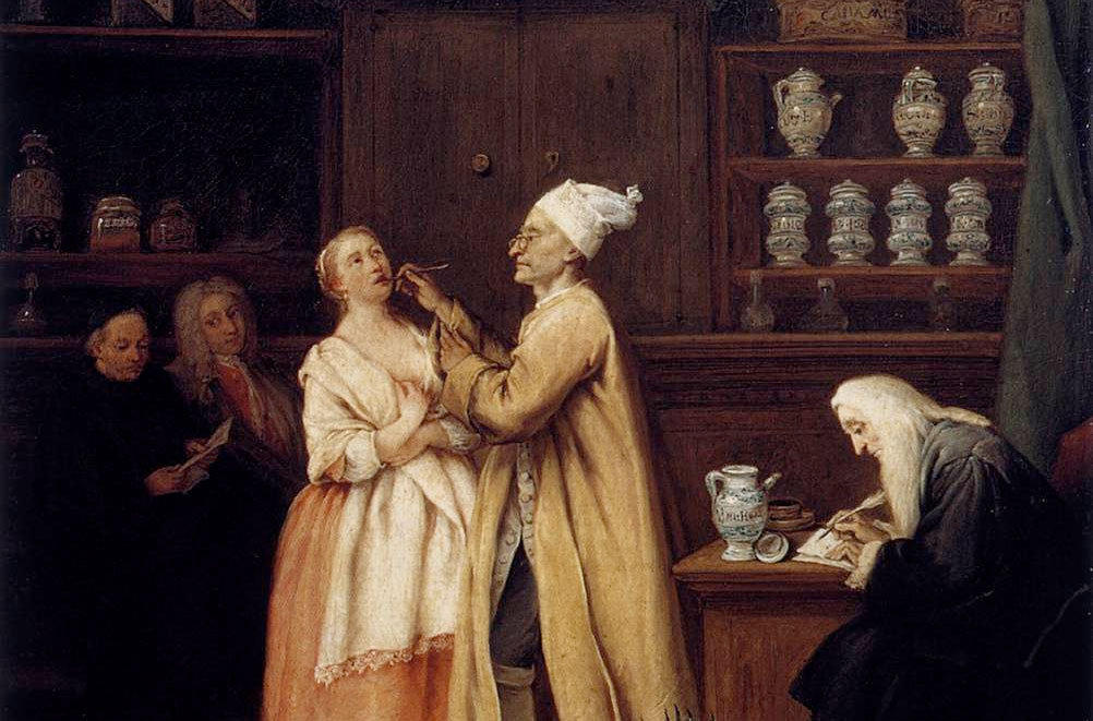 An Apothecary shop frequented by polite clientele (detail from  The Apothocary  circa 1752 by  Pietro Longhi  (1701–1785).