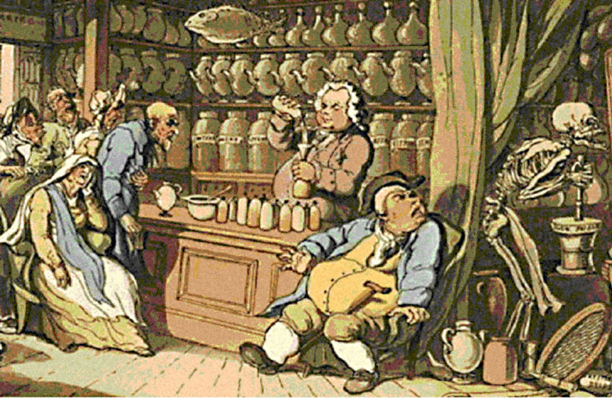 Thomas Rowlandson's illustration aptly entitled ' Death and the Apothecary ' or ' The Quack Doctor ' (note flying fish!)