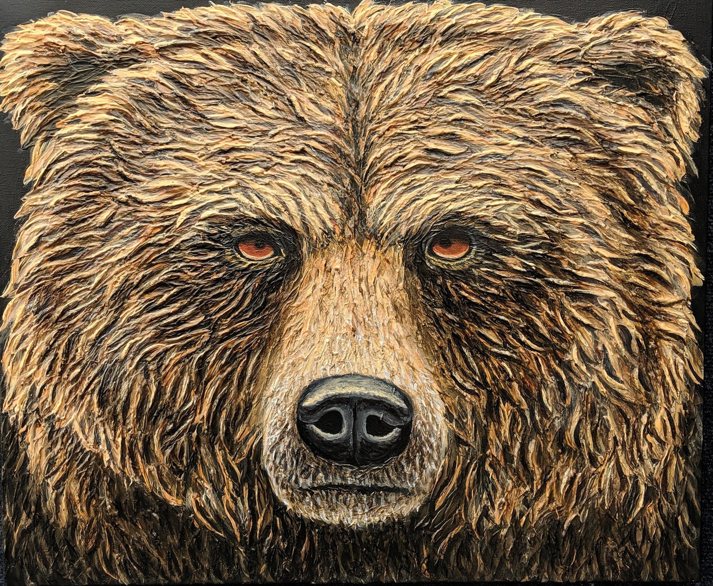 """Ursus arctos  Grizzly bear Acrylic paint on 24""""x20"""" canvas"""