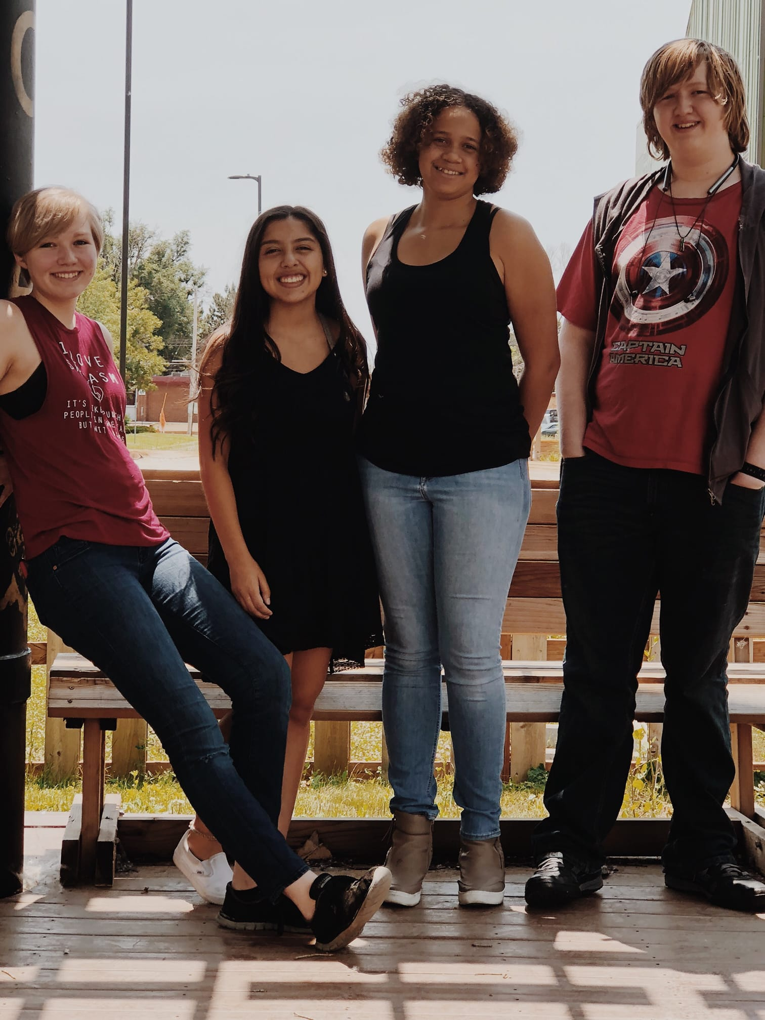 (left to right) Jessica Coy, Alana Marie Barros, Joann Wadsworth, and Andrew Coy