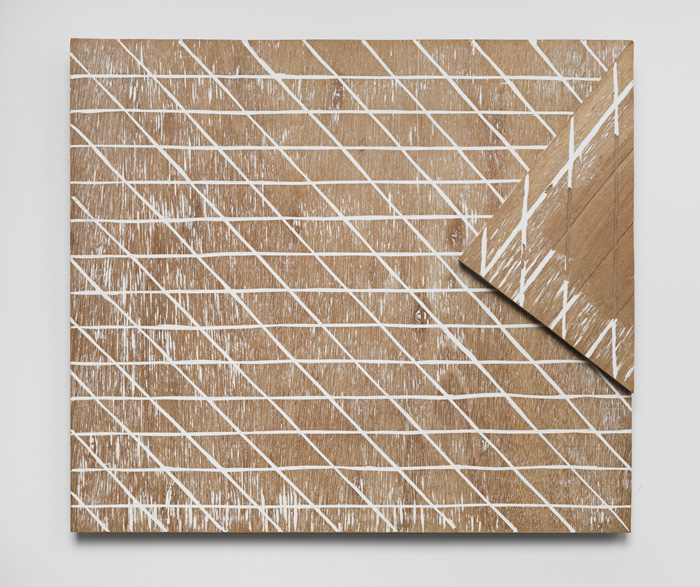 Supplemented Material—8633 , 1986 補われた素材—8663 Wood, putty 15 3/4 x 17 3/4 x 1 3/8 inches 40 x 45 x 3.5 centimeters