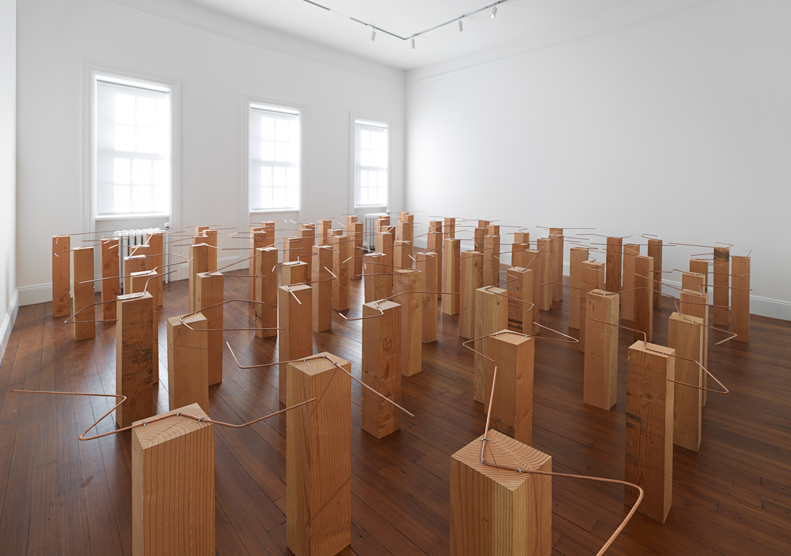 Multiple Latencies in Formation , 2014 複潜化 ( Fukusenka ) Wood, wire 77 parts; 27 1/2 x 4 5/8 x 4 5/8 inches each (69.9 x 11.7 x 11.7 centimeters) Installed dimensions variable Installation view, Blum & Poe, New York, 2015 Courtesy Blum & Poe, Los Angeles / New York / Tokyo