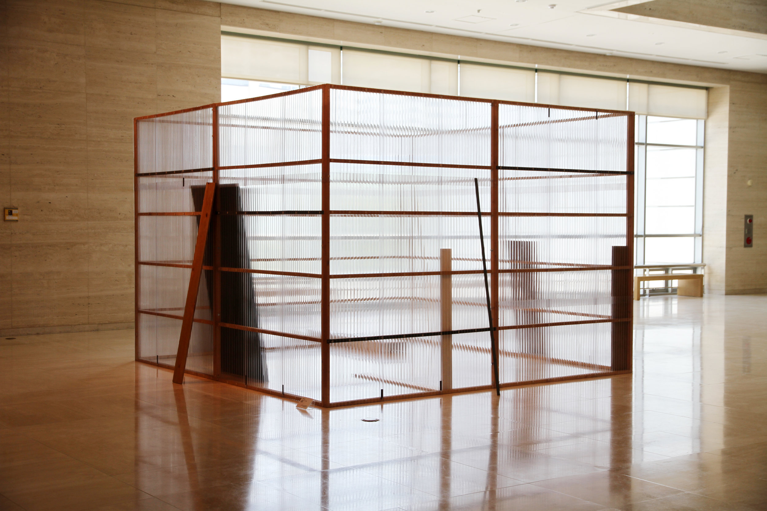 Concealed and Enclosed Surroundings , 1997 包囲周閉 ( Hōi Shūhei ) Wood, paint, metal bars, corrugated metal, corrugated plastic 250 x 340 x 340 centimeters Installation view,  Contemporary Art of China and Japan , Busan Museum of Modern Art, Korea, 2010 Photo: Tsuyoshi Satoh