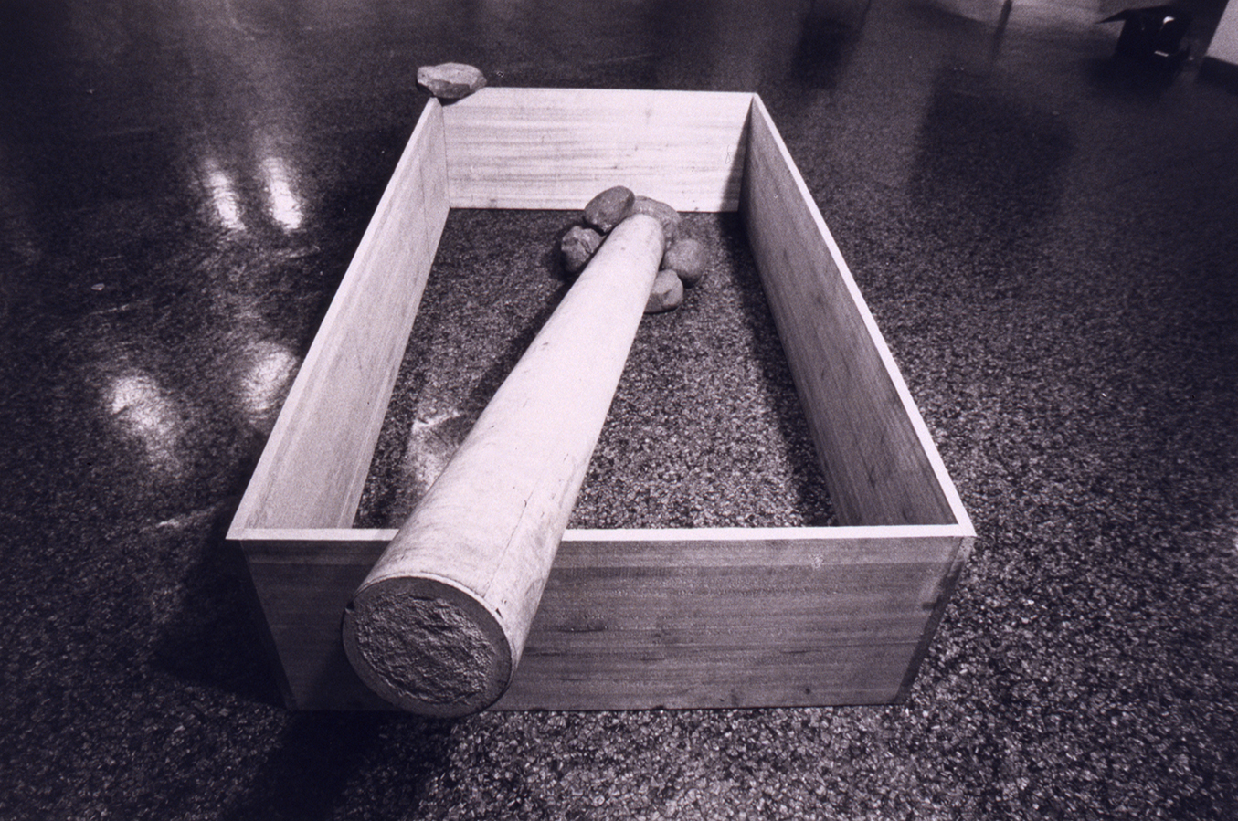 Limited Condition , 1970 限界状況 ( Genkai Jōkyō ) Wood, stone, cement 200 x 100 x 47 centimeters  The 5th Japan Art Festival,  The National Museum of Modern Art, Tokyo, 1970 Photo: Shigeo Anzaï