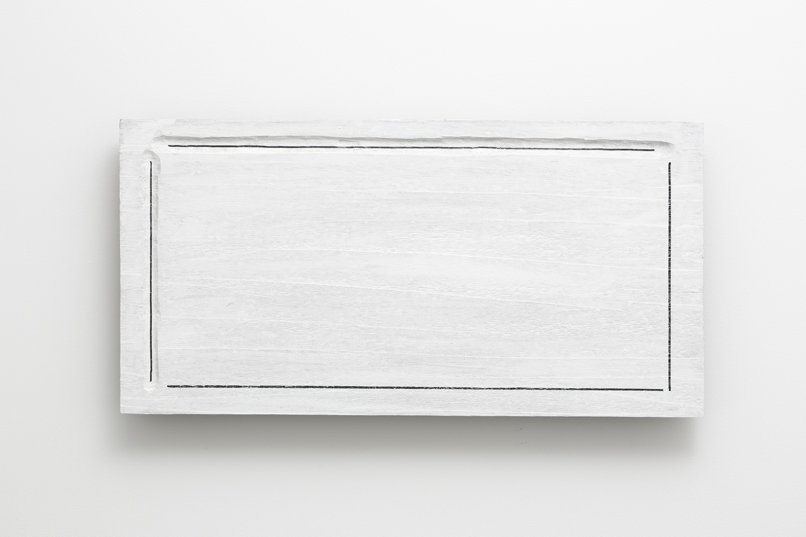 Enclosed Condition , 1977 囲状 ( ijō ) Wood, paint, marker pen, varnish 14 x 27 1/2 x 2 1/8 inches 35.6 x 69.9 x 5.4 centimeters