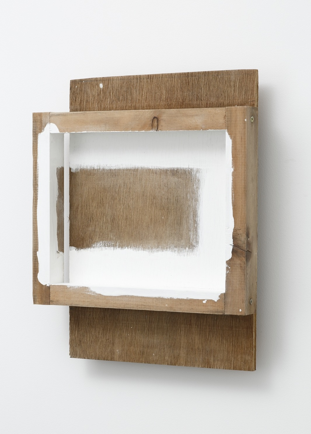 Affixed Space , 1989 張間 ( Chōkan ) Wood, plywood, water-based paint 18 3/8 x 15 1/8 x 3 1/2 inches  46.5 x 38.5 x 9 centimeters