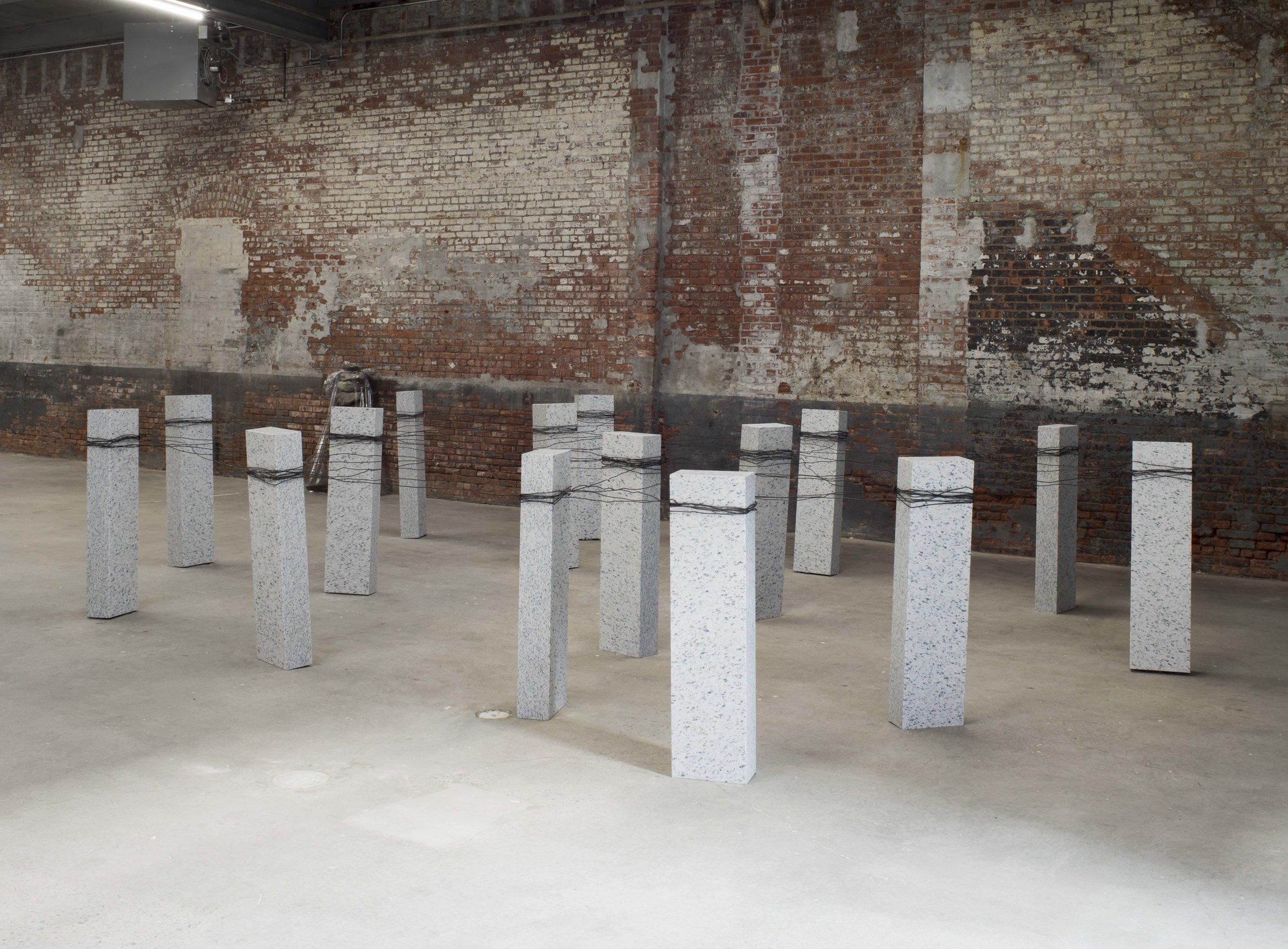 Placement of Condition, 1973/2016 状況置 (J ōkyōchi ) Granite, wire Dimensions variable Installation view, Kishio Suga ,Dia:Chelsea, New York, NY, 2016 Photo:Bill Jacobson Studio, New York Courtesy Dia Art Foundation, New York