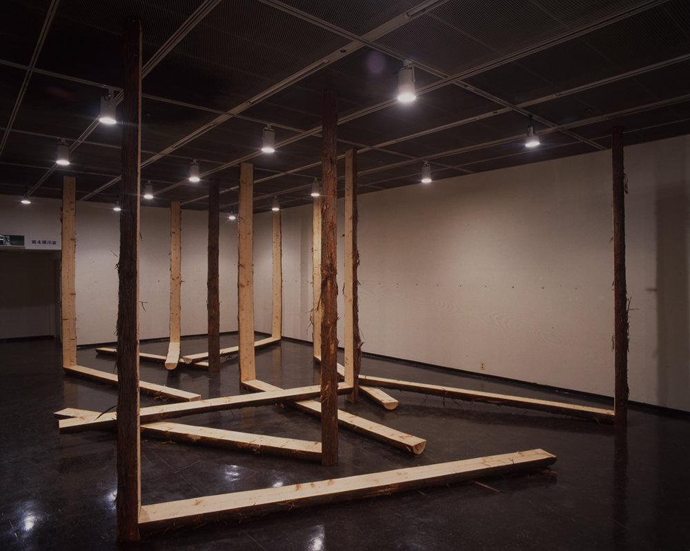 An Aspect as a Whole , 1978/1998 全体の中の一側面 ( Zentai no Ichisokumen ) Wood Dimensions variable Installation view,  Kishio Suga ,Kanagawa Prefectural Gallery, Yokohama, 1998