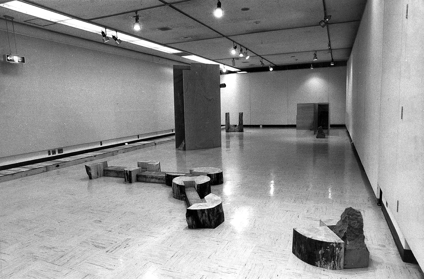 Exposed Realm , 1986 露界( Rokai ) Wood, plywood,stones Installation view,  The 22nd Artists Today '86: Apocalypse in Contemporary Art I — From the Depth of Soul , Yokohama Civic Art Gallery, 1986. Photo: Tsuyoshi Satoh