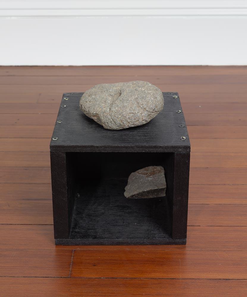 Immanence , 1995 内在 ( Naizai ) Wood, stone 8 7/8 x 7 7/8 x 7 7/8 inches 22.5 x 20 x 20 cm