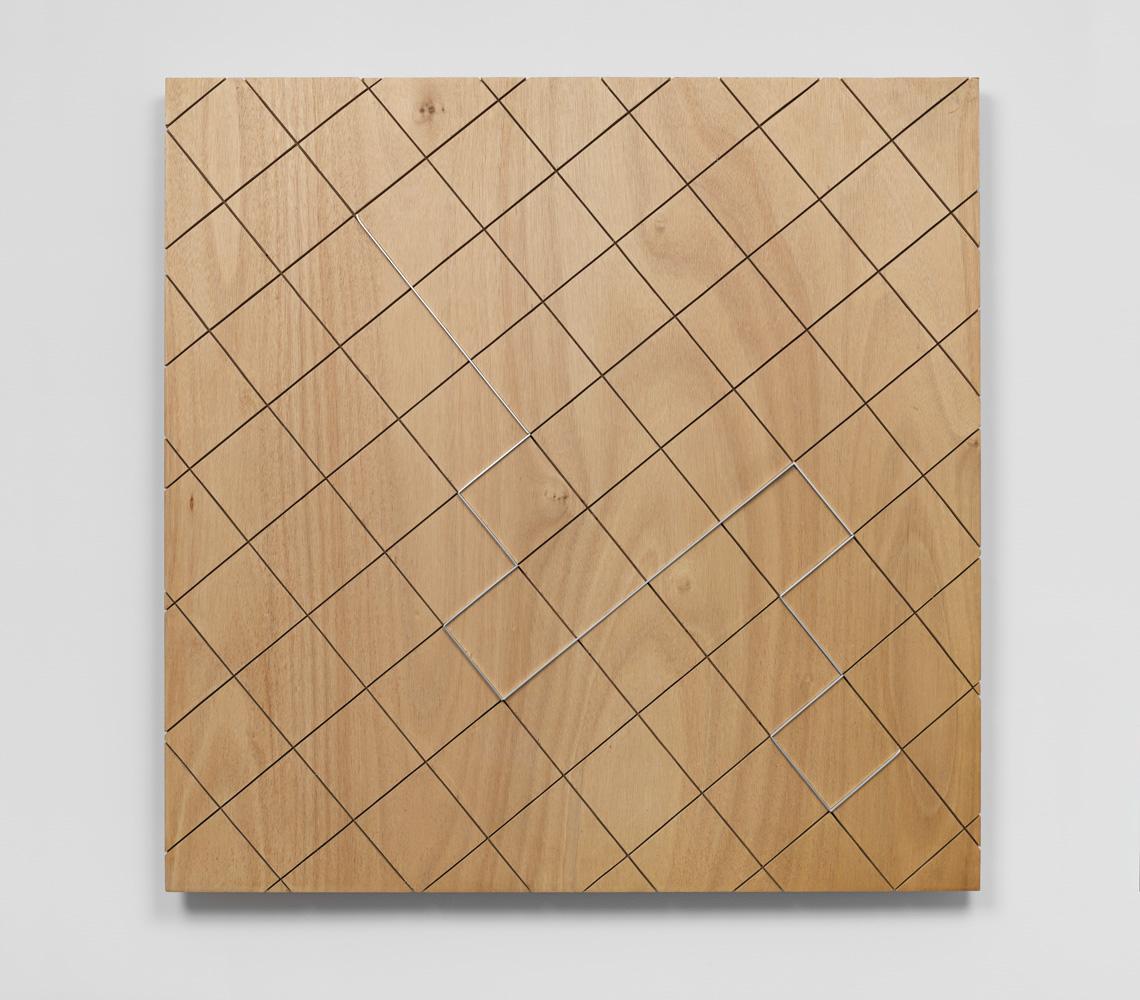 Delineation—Cluster , 1997 囲い込み—束 ( Kakoikomi—Soku ) Wood, metal 36 x 36 x 2 inches 91.5 x 91.5 x 5 cm