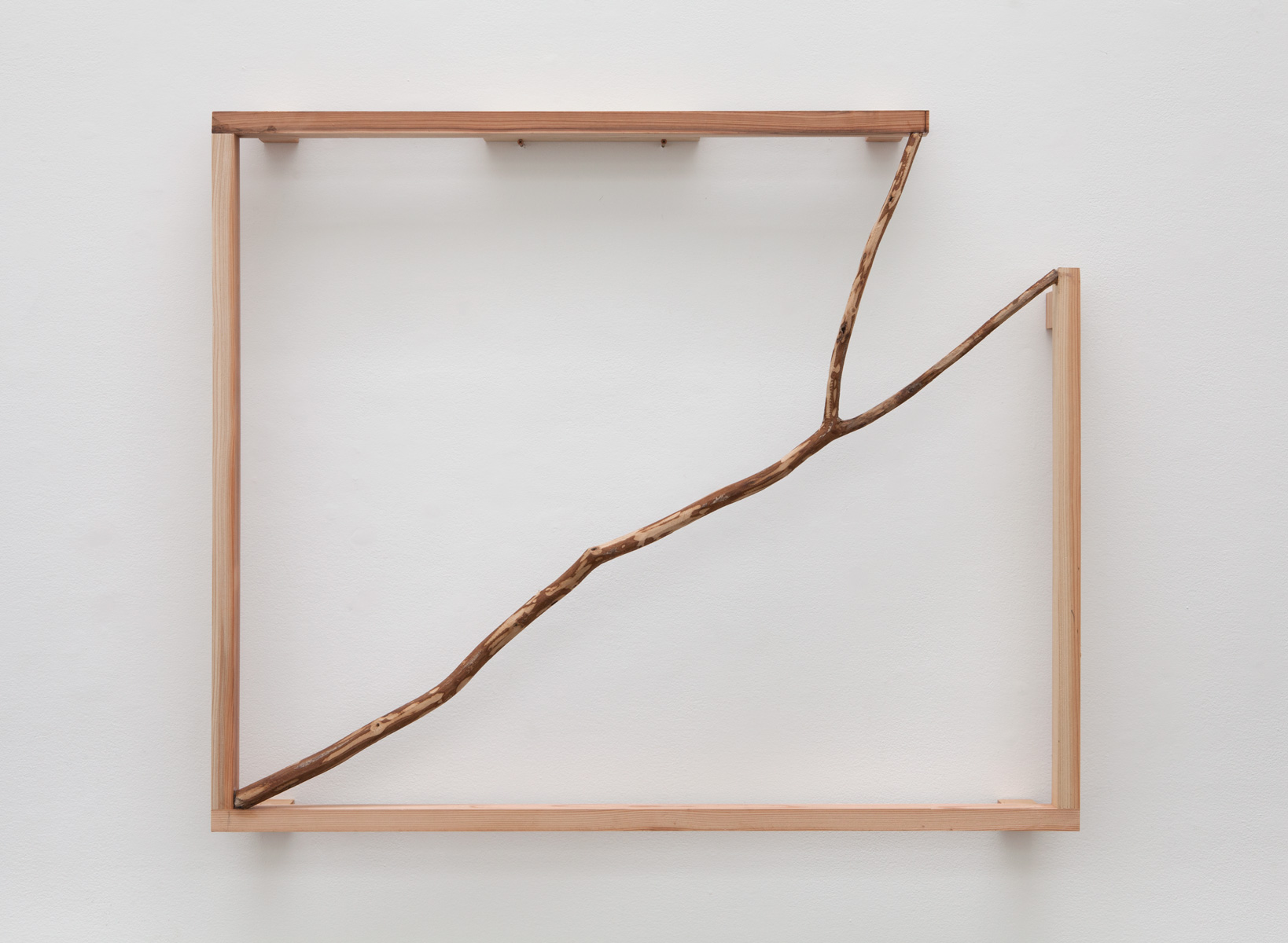 Spatial Opening , 1990-2015 空開 ( Kūkai ) Wood, branch 38 1/2 x 40 1/4 x 4 3/4 inches 97.8 x 102.2 x 12.1 cm