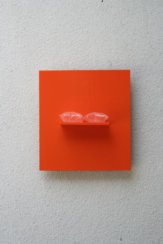 Divided Air , 2007 二つにわけられた空気 ( Futatsu ni Wakerareta Kūki ) Wood, acrylic, air 15 1/2 x 14 1/8 x 5 3/8 inches 39.5 x 36 x 13.5 cm