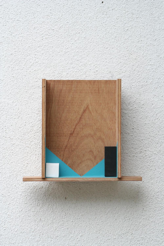 Emerging Two Corners , 2008 ふたつの隅の成立 ( Futatsu no Sumi no Seiritsu ) Plywood, wood, paint 15 3/4 x 13 3/8 x 4 1/8 inches 40 x 34 x 10.5 cm