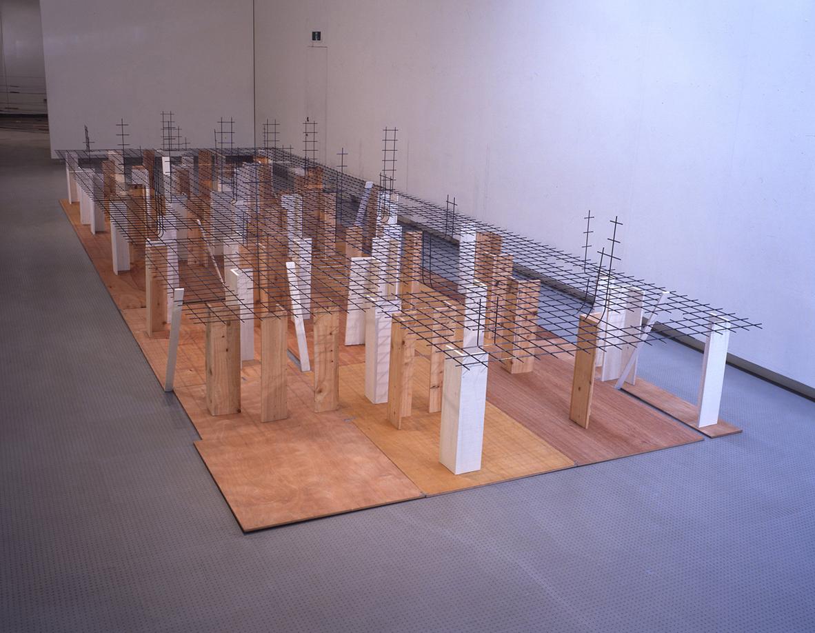 Disseminating Territory , 1996 領域を敷く ( Ryōiki wo Shiku ) Wood, paint, wire mesh 153 x 300 x 900 cm Installation view, Kishio Suga ,Hiroshima City Museum of Contemporary Art, Hiroshima, 1997 Courtesy Hiroshima City Museum of Contemporary Art