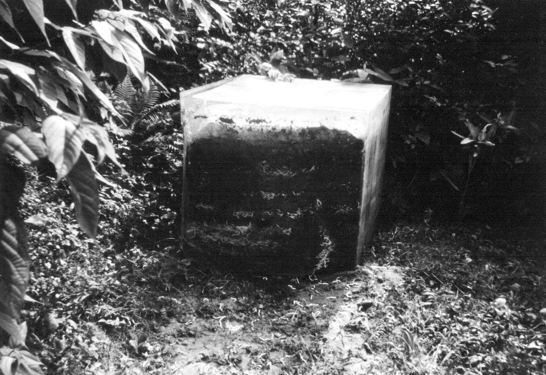 Layered Space , 1968 積層空間 (S ekisō Kūkan ) Acrylic, sawdust, cotton, ash, plastic dust, soil 100 x 100 x 100 cm Studio of the artist, Kawasaki, 1968 Photo: Kishio Suga