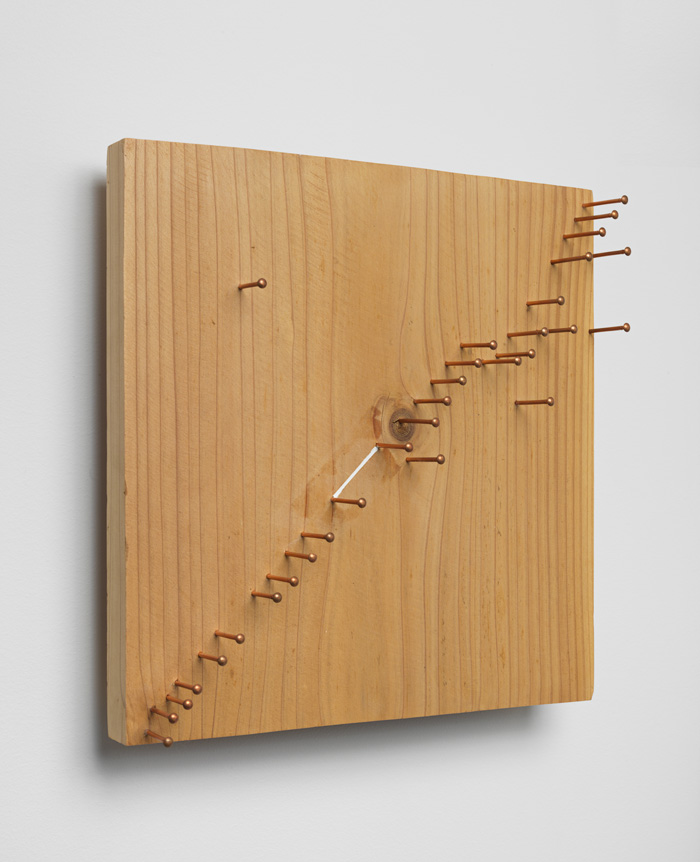 Season of Separation , 2004 分離の季節 ( Bunri no Kisetsu ) Wood, pins, paint 11 7/8 x 11 11/16 x 3 11/16 inches 30.2 x 29.7 x 9.3 cm