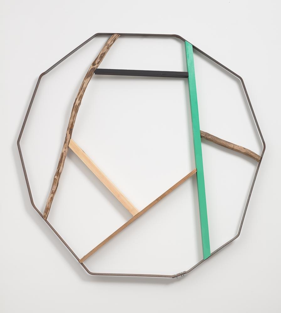 Divided Accumulation , 2011 分集 ( Bunshū ) Wood, paint, branch, metal 44 5/16 x 45 1/2 inches 112.5 x 115.5 cm