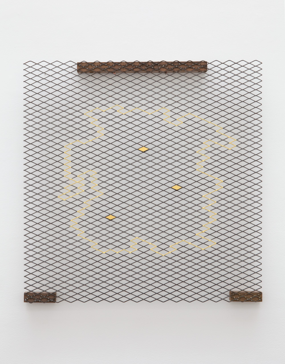 Segregated Placement, Clustered Situation—1 , 2014 分置景集―1 ( Bunchi Keishū―1 ) Mesh, wood, paint 36 3/4 x 36 x 2 1/4 inches 93.3 x 91.4 x 5.7 cm
