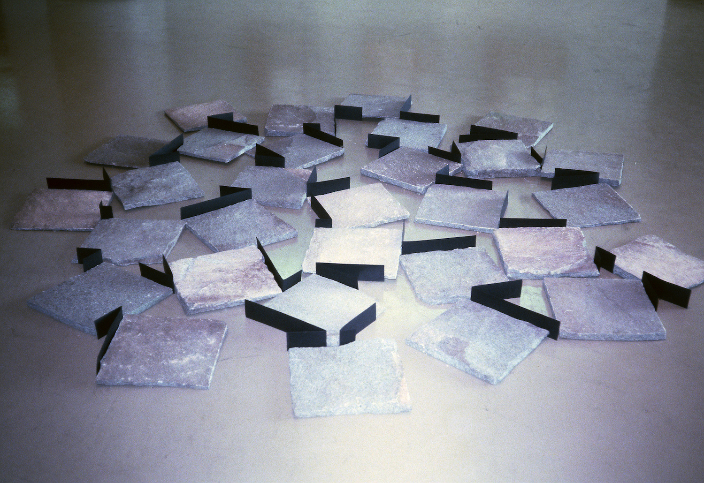 Placement of Stone Entities , 1982. Installation view at Tama Art University, Tokyo, 1982. Photo: Kishio Suga