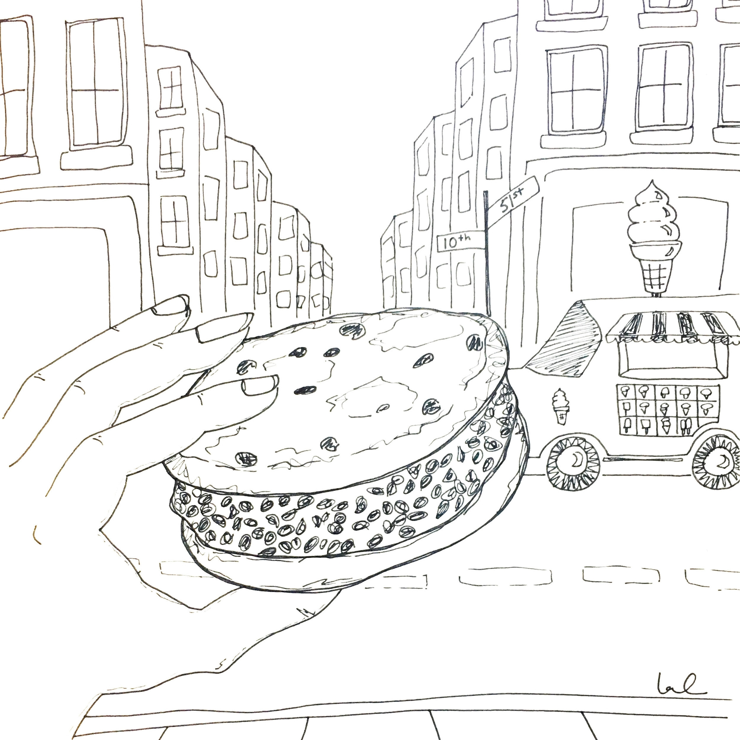 Ice cream truck drawing by Laurel Greenfield