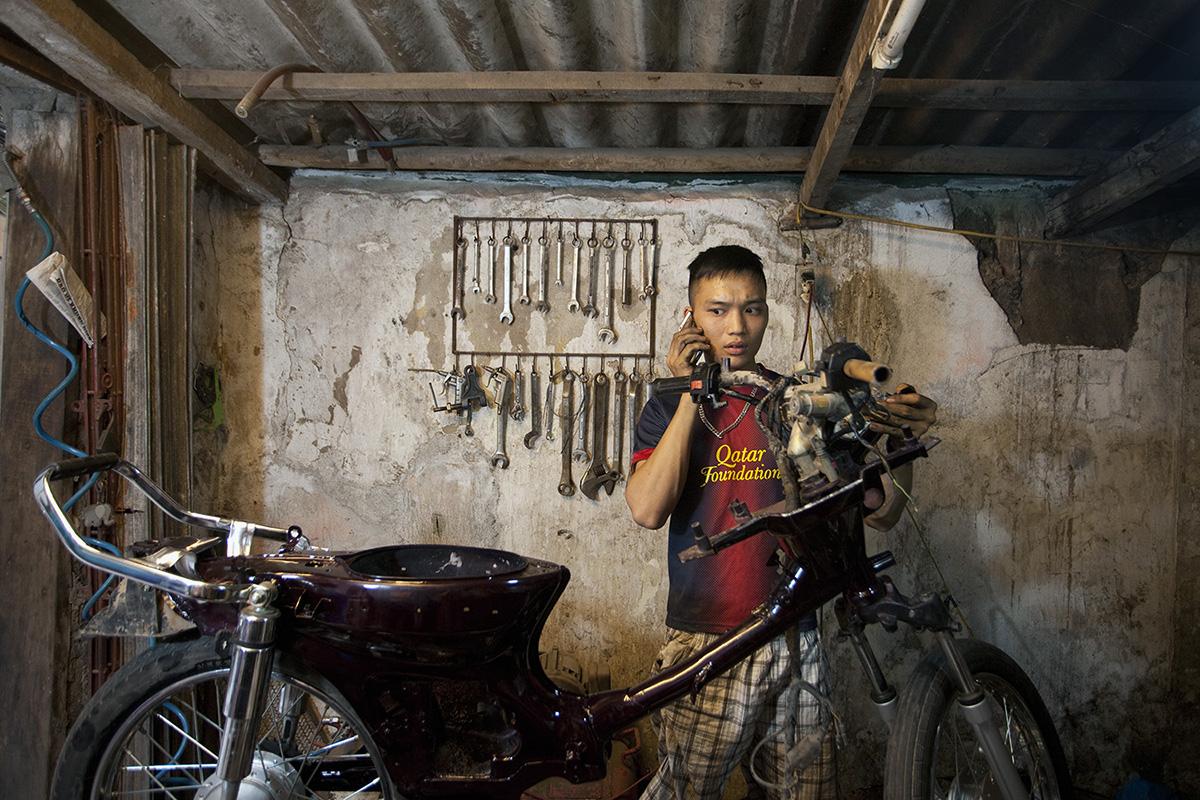 Motorcycle garage in Hanoi, Vietnam