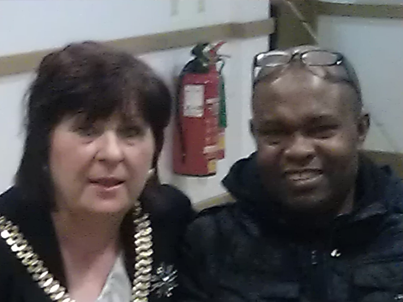 Ayo Falana (Co-Volunteer Founder & Global Ambassador – LSFH/MAPFest.org) and Mrs Anderson (The Mayoress of the City of Liverpool) introducing LSFH at a Mental Health Community Event.