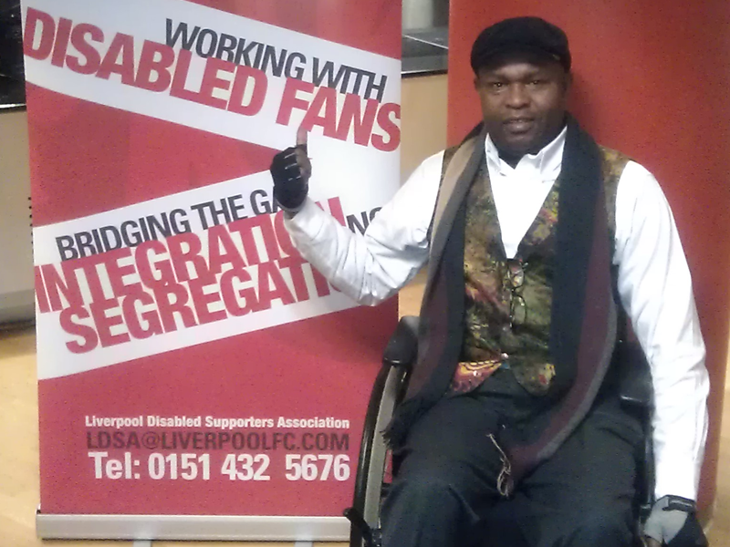 Ayo Falana (Co-Volunteer Founder & Global Ambassador – LSFH/MAPFest.org) at the Liverpool Disabled Supporters Association Event.
