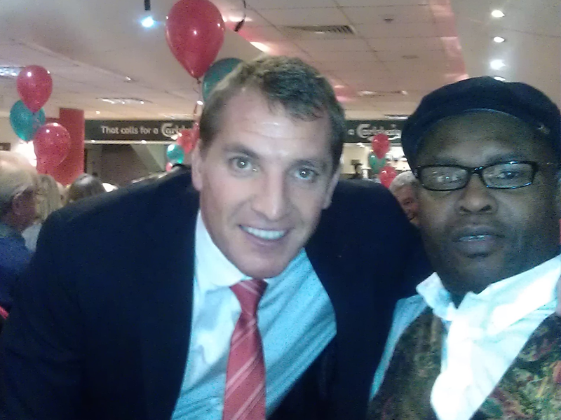 Ayo Falana (Co-Volunteer Founder & Global Ambassador – LSFH/MAPFest.org) and Brendan Rodgers (LFC Manager) at the Liverpool Disabled Supporters Association-LDSA Event.