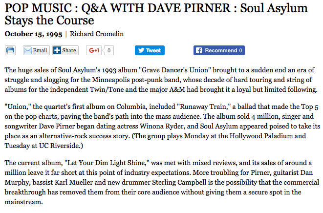 Los Angeles Times - POP MUSIC: Q&A WITH DAVE PIRNER : Soul Asylum Stays Course