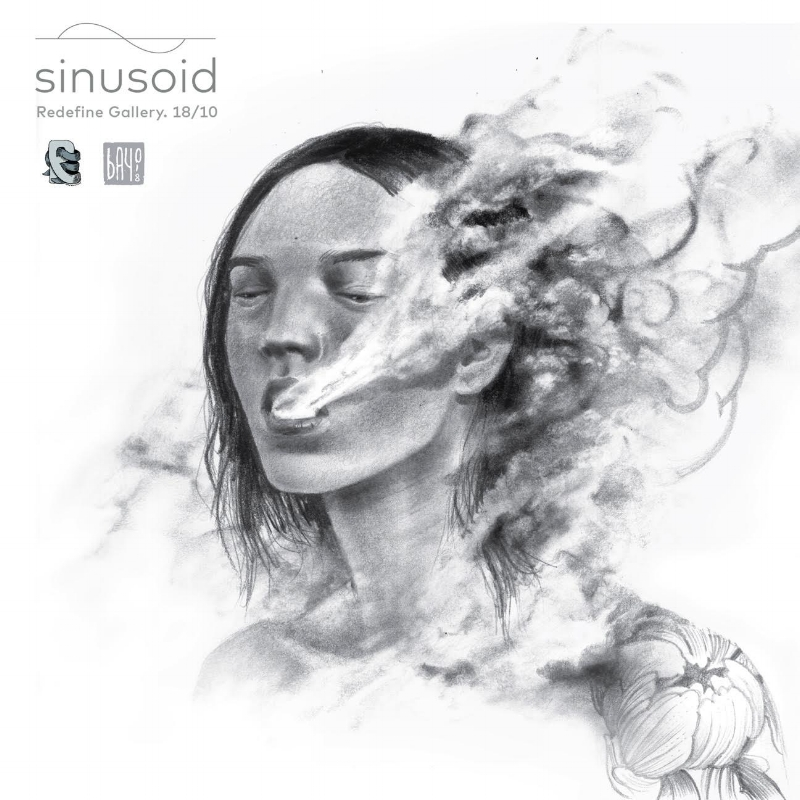 SINUSOID: A sine wave. A mathematical curve that describes a smooth, repetitive oscillation between a bizarre reality and an absurd dream within a deep sigh - new works by BAYO /// Oct. 18 2018 6-10PM
