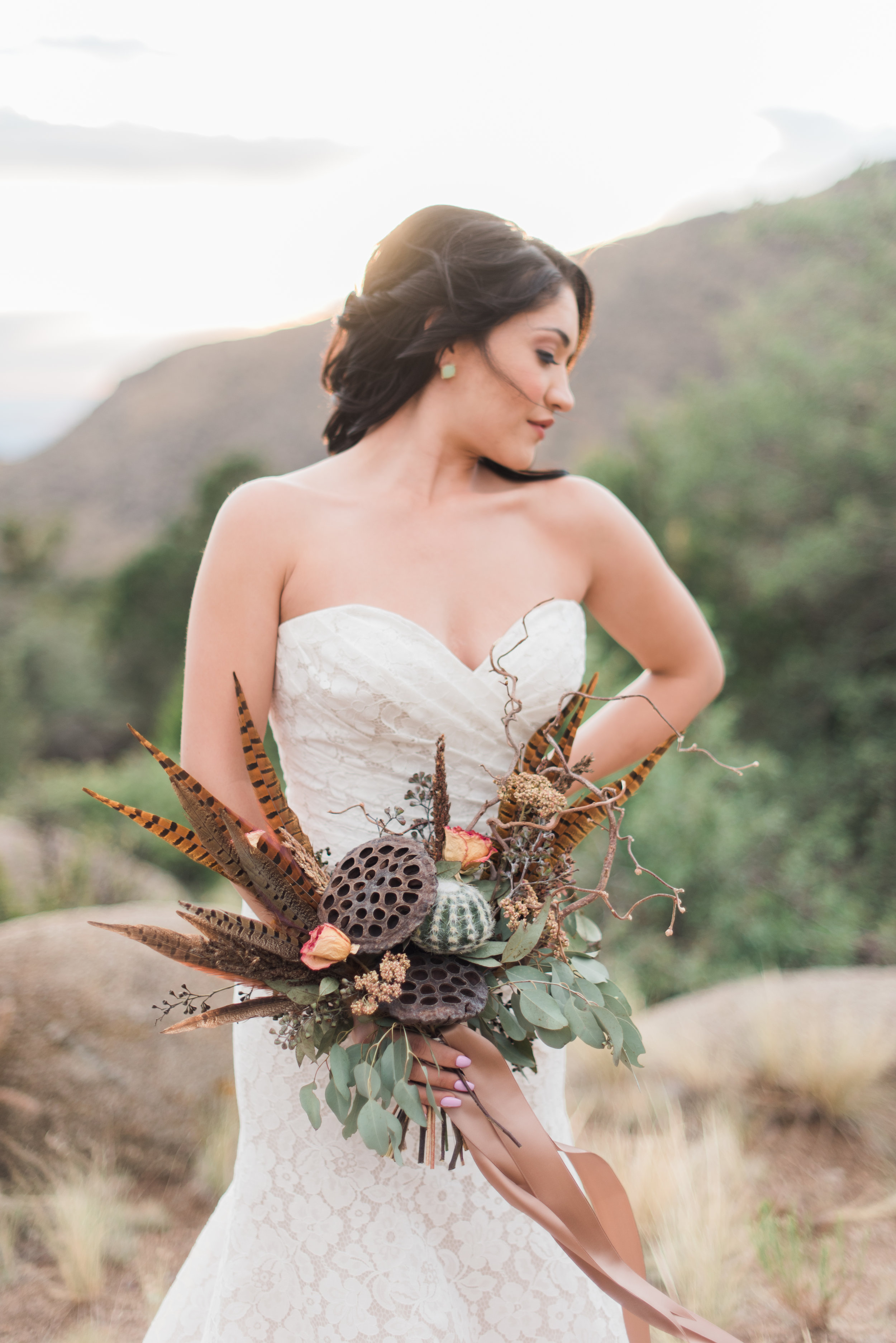 Editorial: Published in Albuquerque Perfect Wedding Guide. Briana Nicole Photography. Gown: Bridal Elegance by Darlene. Sandia Foothills, New Mexico.