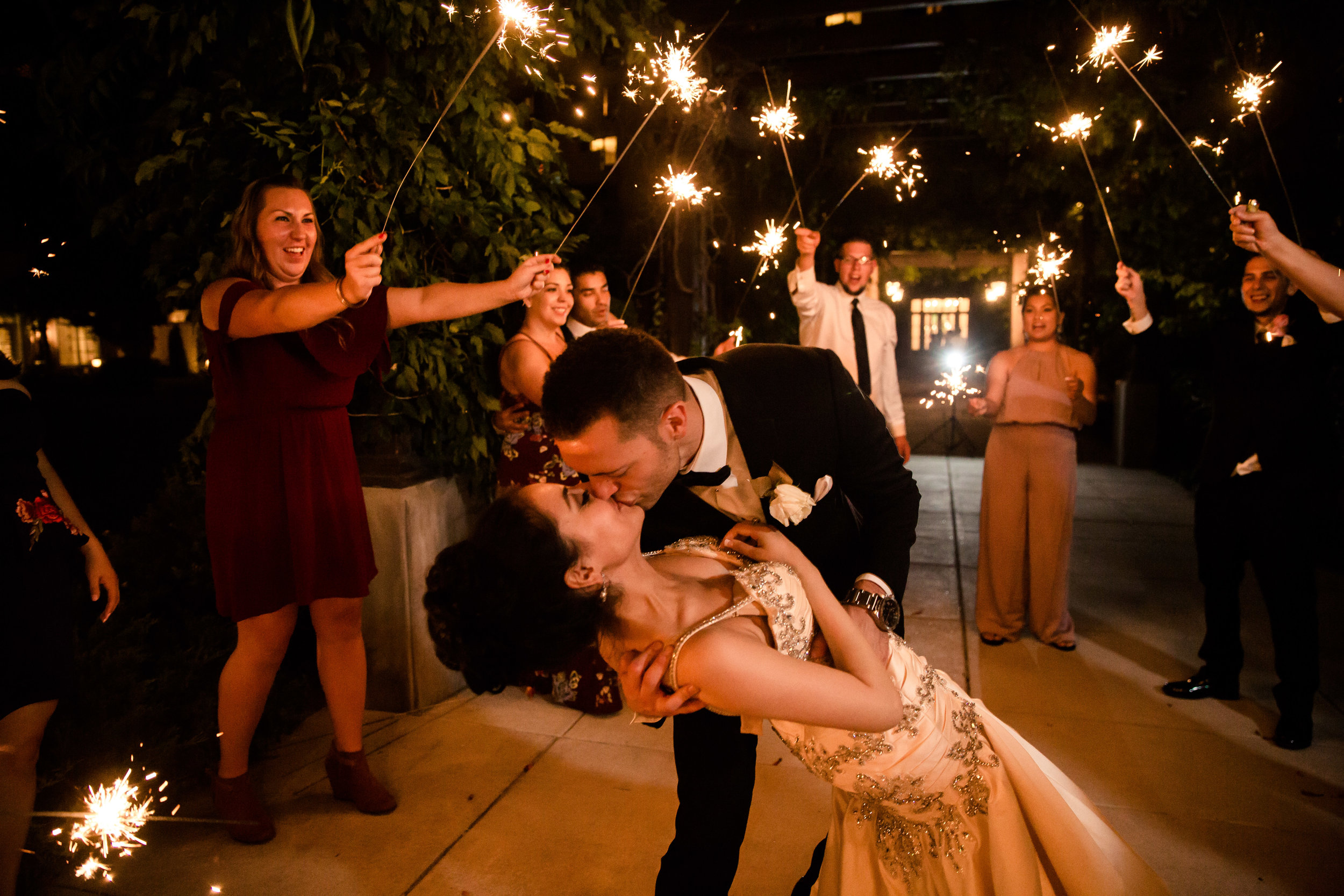 Real Wedding, June 2017  Ellie & Anthony Romero  Photographer: Talitha Tarro  Styling/Décor: Black Swan  Venue: Hotel Albuquerque, Hotel Chaco, Albuquerque, New Mexico  Group Hair & Makeup & Hair for Bride: C. Johnson Makeup