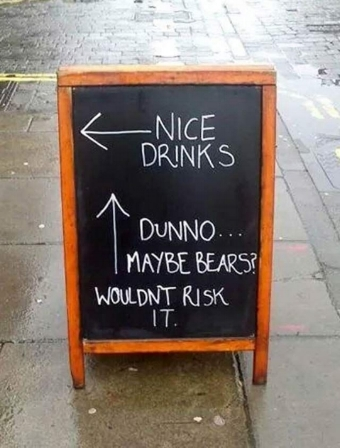 Sandwich board sign in Colorado - beer or bears? Which would you choose?