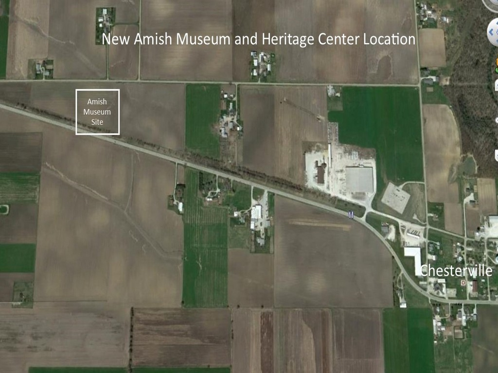 Location of Illinois Amish Heritage Center west of Chesterville, Illinois.