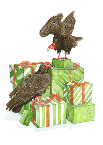 "Gifts + Vultures  Watercolor on Paper  8"" x 10""  $785"