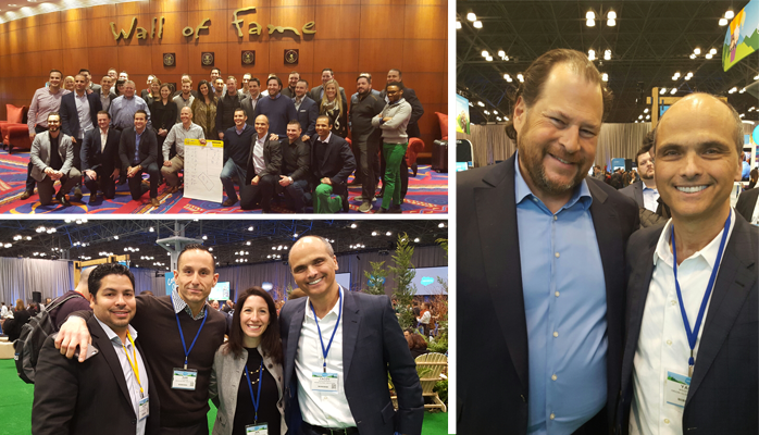Orion and the Salesforce retail and consumer goods team, Yacov with Salesforce CEO Marc Benioff at Salesforce's recent NY World Tour, and members of the Orion team.